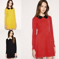 Baby Doll Peter Pan Contrast Collar Long Sleeve Dress Colour Block Pleated ESY1
