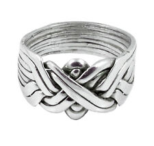 8-Band Sterling Silver Men's Puzzle Ring Sizes 6-16        #2546