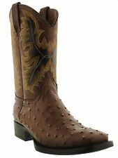 Men's brown ostrich quill cowboy boots leather square toe western rodeo exotic