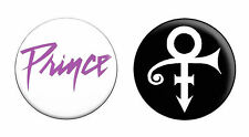 2 x Prince Logos Pin Button Badge Fridge Magnet (Purple Rain Retro 80s)