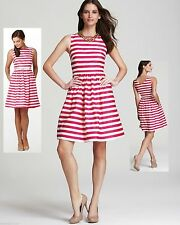 $198 Lilly Pulitzer Eryn Azalea Pink Swizzle Stripe Cotton Sateen Dress 6