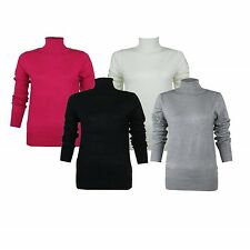 Jumper Ladies Pink Black Cream Polo-neck Roll Long Sleeve Top Sizes 8-22