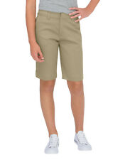 "DICKIES GIRL KHAKI TOMBOY SHORT4 POCKET CLASSIC MID RISE 13"" STRETCH Sizes 0 -15"