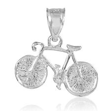 White Gold Cycling Bicycle Bike Sport Pendant (Made in USA)