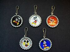 New Handcrafted Bottle Cap Mickey Mouse Cartoon Character Charm Zipper Pull