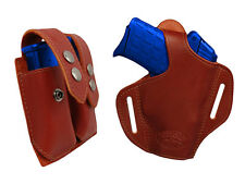 NEW Barsony Burgundy Leather Pancake Holster+Dbl Mag Pouch Colt Comp 9mm 40