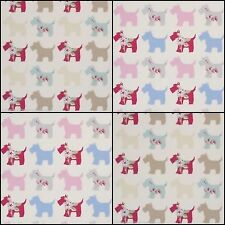 Clarke & Clarke Grey Pink Scotties Designer Curtain Upholstery Fabric