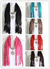 Scarf with pendant fashion jewelry Silver Angel Wings cross rhinestones scarves