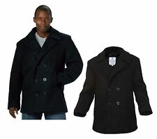 Wool US Navy Type MENS COAT Pea Coat, Black by Rothco ALL SIZES FROM XS TO 5XL