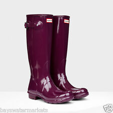 HUNTER ORIGINAL TALL GLOSS PLUM WELLINGTON BOOTS DARK PURPLE WELLIES US NWT BN