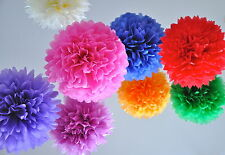 MANY COLOURS [10 Pack] Large Paper Pom Poms Party Decorations White Pink Wedding