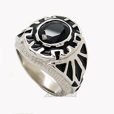 Men Classic Silver Black Cubic Zirconia 316L Solid Stainless Steel Ring