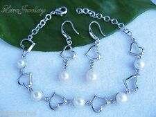8mm White Real Cultured Freshwater Pearl Hearts Bracelets & Earrings Set Gifts