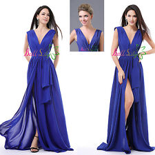 New Royal Blue Sexy Split Formal Prom Dresses Party Bridesmaid Evening Ball Gown