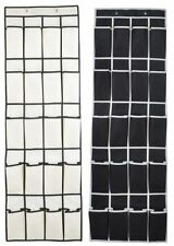 20 POCKET SHOE ORGANIZER OVER DOOR 10 PAIR FABRIC SHOE BAG TOWER, BLACK OR WHITE