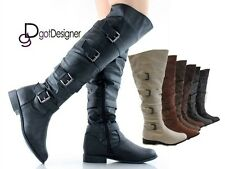 NEW Womens Thigh High Over The Knee High Boots Motorcycle Riding Buckles Flat