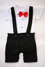 NEW Baby Boy Black Tuxedo Red Bow OnePiece Short Sleeve Romper 3-18m Suit 00.0.1