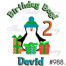 birthday boy Penguin 1st 2nd 3rd Custom Name Age Personalized Shirt tee t