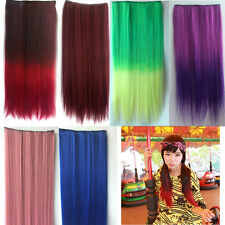 Party Colors Rainbow Hair Extensions Straight Synthetic Clip In On Cosplay Women