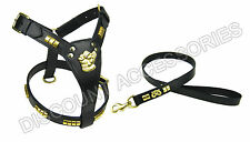 LEATHER DOG LEAD AND HARNESS  STAFFORDSHIRE BULL TERRIER STAFF STAFFIE BLACK