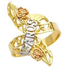 14K Tri-Tone Artisan Gold Sweet Quinceañera 15 Años Four Leaf Clover Ring