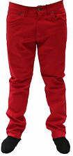 Mens Slim Fit Chino State Property Red Jeans Smart Trousers Designer Pocket