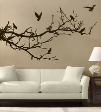 Tree Branches Birds Wall Art Free Squeegee! Decal Sticker Transfer Mural Bedroom