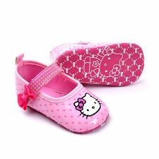 New HELLO KITTY Soft Sole Baby Girl Spotty Mary Jane Crib Shoes. Age 0-12 Months