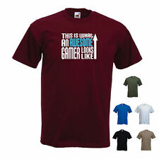'This is What an Awesome Gamer Looks Like' Computer Xbox PS3 PS4 Funny T-shirt