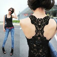 New Women's Sexy Lace Flower Tank Top Sexy Cami Sleeveless Casual Cotton T-Shirt