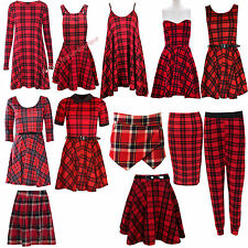 Ladies  Red Tartan Check Print Swing Tunic Skater Dress Pencil Midi Skirt Skort