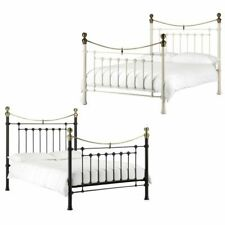 Happy Beds Victoria Metal Bed Black / White Bedroom Furniture Mattress All Sizes