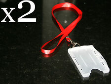 2 x Double Sided ID Card Holders & Lanyards | Vertical OR Horizontal