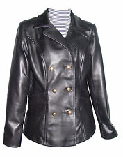Plus Size & All  4101db Clean Leather Pea Coats Womens Business Clothing Real La