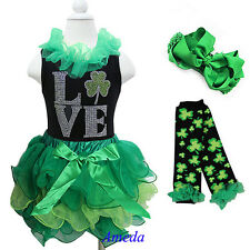 Girls St Patricks Day Green Tutu LOVE Shamrock Black Tank Top 4pc Party Dress