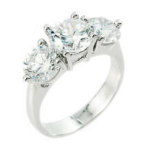 925 Sterling Silver 3 Round Stone Cubic Zirconia Engagement Wedding Ring