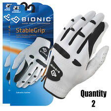 3 x BIONIC StableGrip Golf Gloves NEW Style - White Leather - Right & Left Mens
