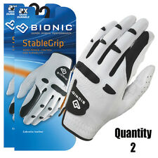 2 x Men's BIONIC StableGrip Golf Gloves Natural Fit. White - Right & Left Hand