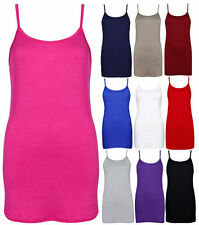 Women Plain Sleeveless Ladies Stretch Long Strappy Camisole Vest thin Ribbed Top