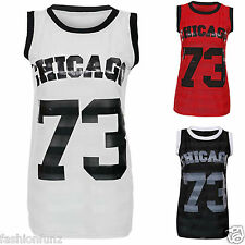 WOMENS LADIES SLEEVELESS CHICAGO 73 PRINT STRIPE MESH INSERT T SHIRT VEST TOP