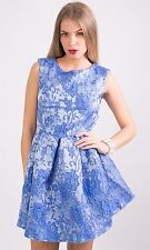 Hidden Fashion Womens Cut Out Backless Floral Lace Print Short Skater Dresses