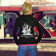 WOMENS THE PIRATE BAY SKULL BOAT INTERNET FREEDOM FILE SHARING THIN HOODIE HOODY