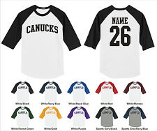 Canucks Custom Personalized Name & Number Raglan Baseball Jersey T-shirt