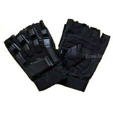SPORTS ARMORED PAINTBALL VENTED PROTECTIVE FINGERLESS LEATHER GLOVES - K1M