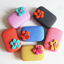 1set High Quality Beautiful Flower Contact Lens Case Travel Box With Mirror
