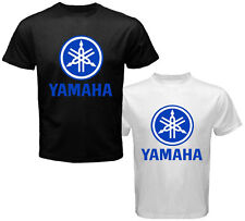 New YAMAHA Moto GP Blue Logo Rossi Lorenzo Men's White Black T-Shirt Size S-3XL