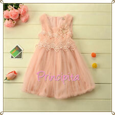 GIRLS Boutique Special Occasion Chiffon & Lace Pearl Pink Dress with Fleece