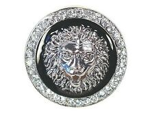 Lion Head Medallion Stretch Cocktail Ring Clear Crystals in Silver or Gold