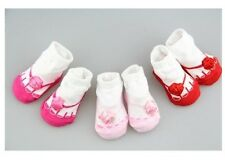 Infant gift Baby Girl Newborn Rose Detailing Faux Shoe Socks 0-12 months