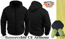 MOTORCYCLE KEVLAR MESH LINED BLACK HOODIE ULTIMATE PROTECTION FOR RIDERS SMALL
